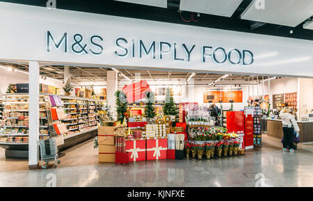 London Gatwick, UK - November 21st, 2017: Marks and Spencer M&S Simply Food store, South Terminal, London Gatwick, - Stock Photo