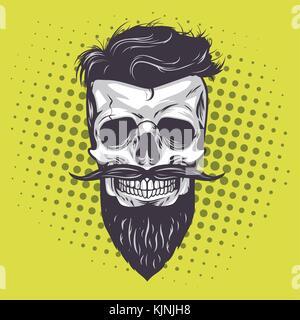 Hipster Skull Pop Art Vector Illustration - Stock Photo