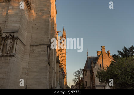 Side view of the Notre Dame cathedral in Paris - Stock Photo