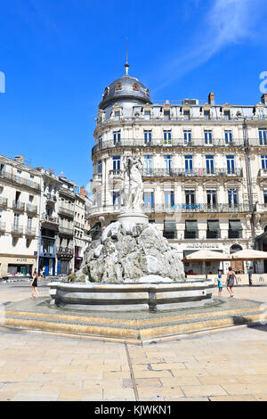 The Fountain of The Three Graces in Place de la Comédie, Montpellier, France - Stock Photo