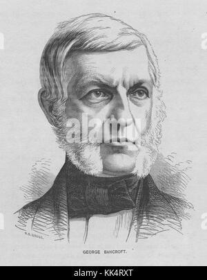 Engraved portrait of George Bancroft, 17th United States Secretary of the Navy, he established the United States - Stock Photo