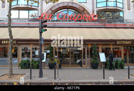 Paris, France - November 26, 2017: La Coupole in the Montparnasse Quarter - one of the most legendary and the famous - Stock Photo