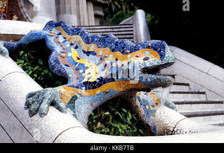 The Park Guell at Barcelona which was designed by Gaudi. This is the famous Chameleon which stands at the entrance. - Stock Photo