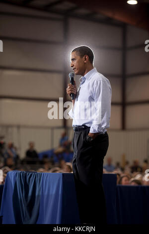 President Barack Obama participates in a town hall meeting on health care insurance reform at Gallatin Field in - Stock Photo