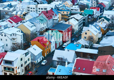 Reykjavik, Iceland - 22 January 2016 : A view from the tower of Hallgrimskirkja church, a popular tourists destination. - Stock Photo