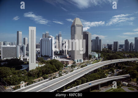 Daytime shot of  the Marina Bay area in Singapore, taken from the Singapore Flyer Wheel showing the skyline of Singapore - Stock Photo