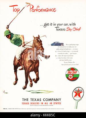1948 U.S. Magazine Texaco Sky Chief Gasoline Advert - Stock Photo