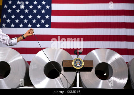 President Barack Obama participates in a town hall at Millennium Steel Service, LLC in Princeton, Ind., Oct. 3, - Stock Photo