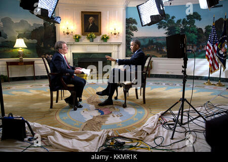 President Barack Obama participates in an interview with Steve Croft of 60 Minutes in the Diplomatic Reception Room - Stock Photo