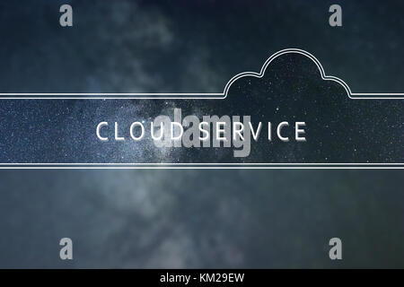 CLOUD SERVICE word cloud Concept. Space background. - Stock Photo