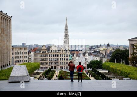 Brussels, the Capital of Belgium: View towards the gothic City Hall - Stock Photo