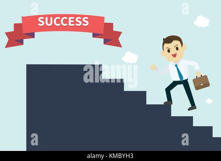 businessman wear white shirt and he run up  the silhouette stairs to success red ribbon employee climbs up the stairs - Stock Photo