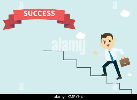businessman wear white shirt and he run up stairs to success red ribbon employee climbs up the stairs vector illustration - Stock Photo