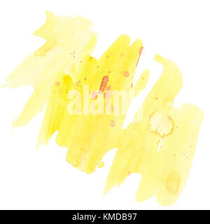 Watercolor background yellow hand drawing. Isolated on white background. - Stock Photo