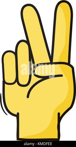 Hand gesture peace sign, symbol. Sketch vector ...