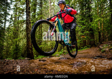 Woman mountain biker rides downhill in forest on the Ice Lakes trail, USA - Stock Photo