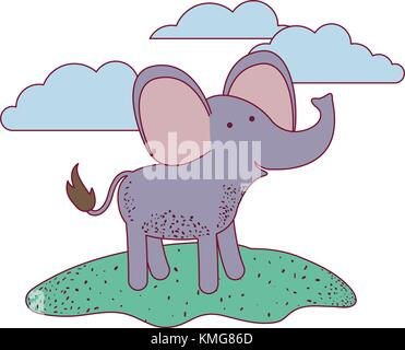 elephant cartoon in outdoor scene with clouds on colorful silhouette with thin contour - Stock Photo
