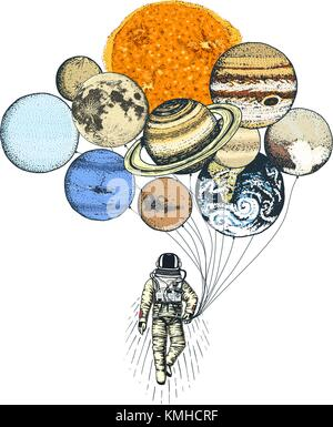 astronaut spaceman. planets in solar system. astronomical galaxy space. cosmonaut explore adventure. engraved hand - Stock Photo