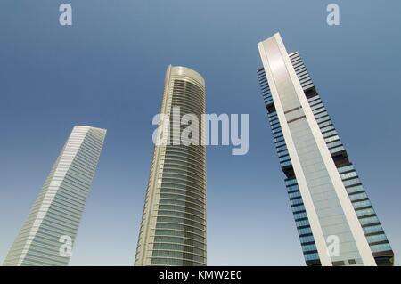 three skyscrapers in Madrid, Spain - Stock Photo
