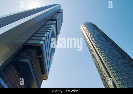 Two skyscrapers from below in Madrid, Spain - Stock Photo