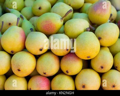 pears fruits stacked in a row on market display - Stock Photo
