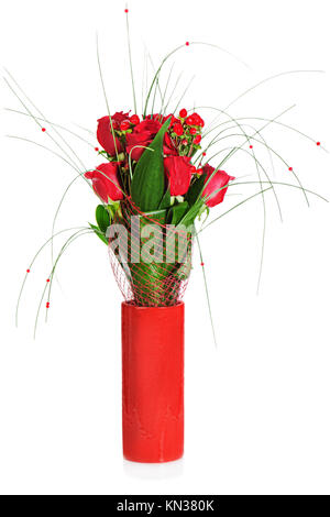 colorful flower bouquet from red roses in red vase isolated on white background. - Stock Photo
