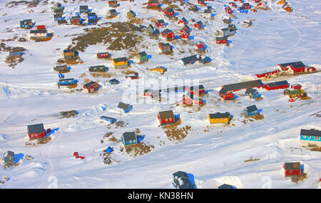 Colorful houses in the Kulusuk village, Greenland. - Stock Photo