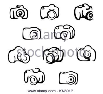 Camera icons and symbols set isolated on white background. - Stock Photo