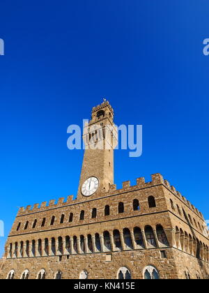 Palazzo Vecchio - the old palace in Florence, Tuscany, Italy. - Stock Photo