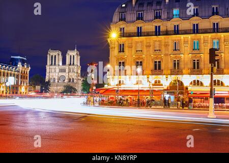 Paris Place de Saint Michel St sunset with Notre Dame at France. - Stock Photo