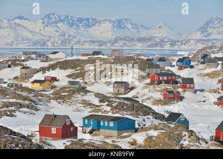 Colorful houses in spring time in Greenland. - Stock Photo