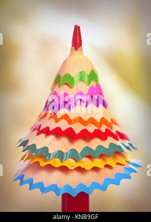 tree made â. ‹â. ‹of colored pencil shavings. - Stock Photo