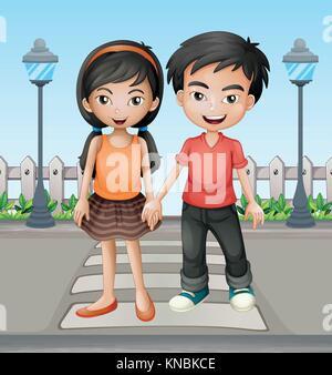Illustration of two teenager holding hands together - Stock Photo