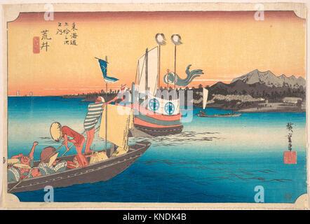 東海道五oä¸‰æ¬¡ä¹‹å†… 荒井 渡舟の図/Arai, Tosen. Artist: Utagawa Hiroshige (Japanese, Tokyo (Edo) - Stock Photo
