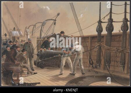 Splicing the Cable (after the First Accident) on Board the Great Eastern, July 25th, 1865. Artist: Robert Charles - Stock Photo