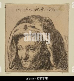 Rembrandt's Mother in a Cloth Headress, Looking Down. Artist: baron Dominique Vivant Denon (French, Givry 1747-1825 - Stock Photo