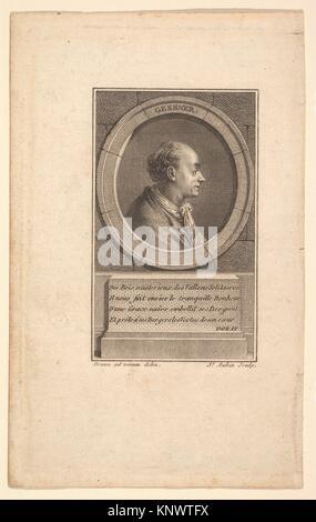 Portrait of Gessner. Artist: Augustin de Saint-Aubin (French, Paris 1736-1807 Paris); Artist: After baron Dominique - Stock Photo