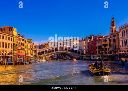 The Grand Canal with the Rialto Bridge in background, Venice, Italy. - Stock Photo