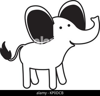 elephant cartoon in black sections silhouette on white background - Stock Photo