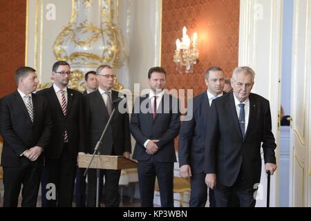 Prague, Czech Republic. 13th Dec, 2017. Czech President Milos Zeman (right) appointed one-colour government headed - Stock Photo