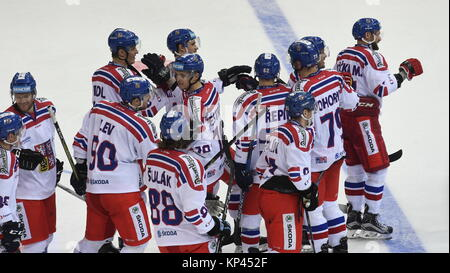Prague, Czech Republic. 13th Dec, 2017. Czech hockey players celebrate a victory after their Channel One Cup hockey - Stock Photo