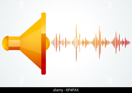 illustration of speaker with music waves on white background - Stock Photo