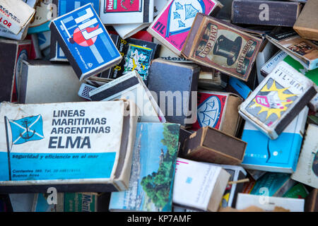 TEL AVIV-JAFFA, ISRAEL - 24 NOVEMBER 2017:Collection of matchboxes on the shelves of the antique market - Stock Photo