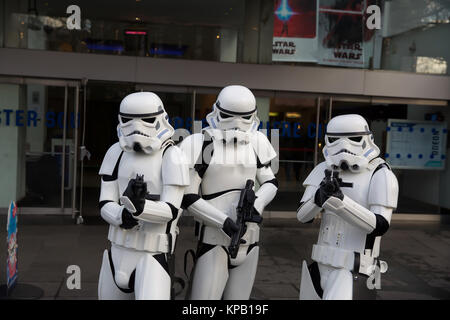 London, UK. 15th Dec, 2017. Storm Troopers outside the Odeon cinema  in Leicester Square, London as the new Star - Stock Photo