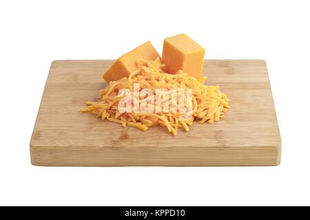 grated bars of cheddar cheese - Stock Photo