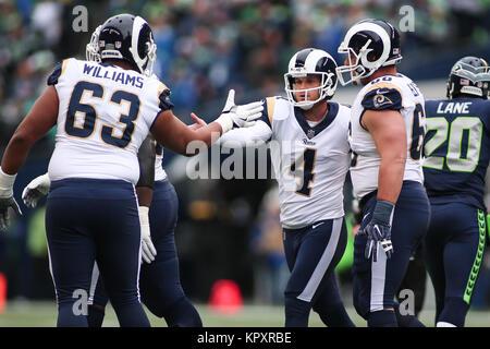 Seattle, WA, USA. 17th Dec, 2017. Los Angeles Rams kicker Greg Zuerlein (4) celebrates after making a field goal - Stock Photo