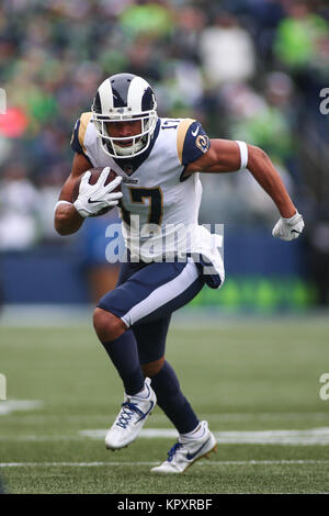Seattle, WA, USA. 17th Dec, 2017. Los Angeles Rams wide receiver Robert Woods (17) runs after a catch during a game - Stock Photo