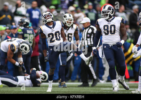 Seattle, WA, USA. 17th Dec, 2017. Los Angeles Rams safety Lamarcus Joyner (20) reacts after a defensive play during - Stock Photo