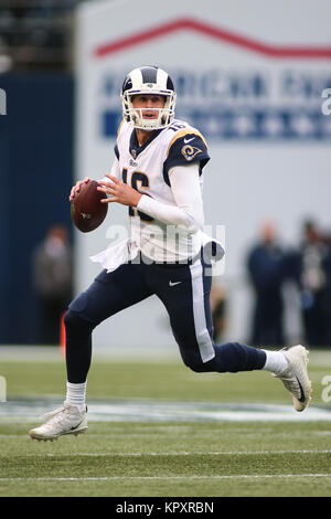 Seattle, WA, USA. 17th Dec, 2017. Los Angeles Rams quarterback Jared Goff (16) looks to pass the ball during a game - Stock Photo