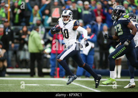 Seattle, WA, USA. 17th Dec, 2017. Los Angeles Rams wide receiver Pharoh Cooper (10) runs back a punt return during - Stock Photo